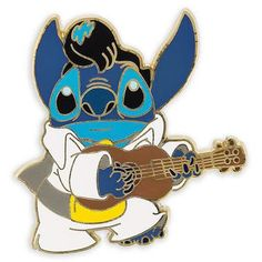Stitch does his best Elvis Presley impression on our enameled cloisonne pin from Lilo & Stitch. Disney Stitch Pins, Lilo And Stitch, Disney Pins, Walt Disney, Disney Magic, Broches Disney, Disney Parks Merchandise, Disney Pin Collections, Disneyland Pins