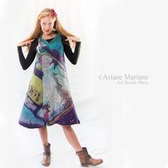 Outstanding Nuno Felt Dress longue Merino Wool Vest Wearable