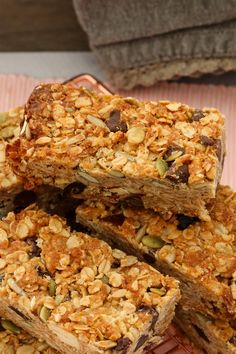 These really are the very best homemade muesli bars. soft & chewy with just the right amount of crunch! Homemade Muesli Bars, Muesli Slice, Healthy Bars, Healthy Slices, Healthy Treats, Healthy Baking, Healthy Foods, Fruit And Nut Bars, Breakfast Recipes