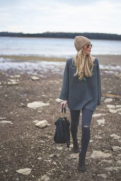 Try an oversized layer for fall paired with a skinny jean for a comfortable outfit that's cool-girl approved.