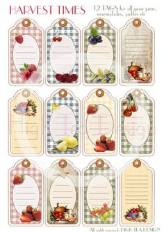 ¨¨¨°º©©º°¨¨¨¨¨¨°º©©º°¨¨¨¨¨¨°º©©º°¨¨¨¨¨¨°º©©º°¨¨¨¨¨¨°º©©º°¨¨¨¨¨¨ HARVEST TIME - Set of 12 Vintage style TAGS for all your homemade preserves.