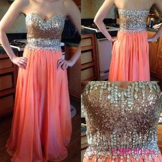 Coral Prom Dresses,Fitted Evening Gowns,Sexy Formal Dresses,Beaded Prom Dresses,Beadings Evening Gown,Modest Evening Dress,Chiffon Prom Dresses,Elegant Evening Dresses PD20183076