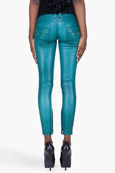 BALMAIN teal quilted Leather Pants