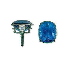 An unusual sapphire, diamond and emerald ring, by Manuel Bouvier. Photo Christie's Image Ltd 2010 The cushion-shaped sapphire weighing...