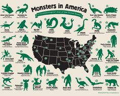 Looking for strange creatures? The Monsters of America map from Hog Island Press will help you track down Bigfoot, Mothman, the Pope Lick monster and more. Cryptozoology Museum, The Jersey Devil, Lake Monsters, Mountain Monsters, Myths & Monsters, Strange Beasts, Legendary Creature, Legendary Monsters, Famous Monsters