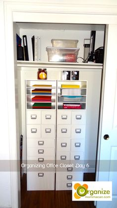 Organized Office organizing office closet | baskets to organize office supplies