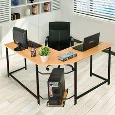 gymax home office l shaped corner computer desk pc latop study table rh pinterest com