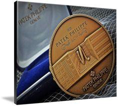 "Patek Philippe Geneve Commemorative Medal Coin $369 // Style: Black Edge Canvas Print; Size: Massive 44"" x 59"" // Visit http://www.imagekind.com/Patek-Philippe-Geneve-PPG_art?IMID=1f63993e-3b0d-4b44-8521-e4fef1f8974d for product details."