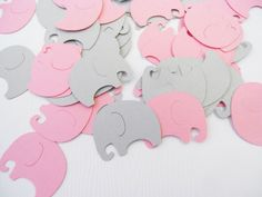 Baby Elephants Table Confetti | 200 pcs | Pink and Gray Baby Shower Decoration
