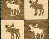 Inlaid Wood Coasters - Moose - Laser Cut