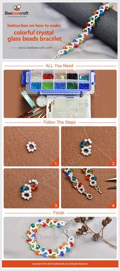 The purpose of using a bracelet could vary from embellishing one's body to supplying someone with medical support or an identification tool. Beaded Jewelry Patterns, Bracelet Patterns, Beading Patterns, Handmade Beads, Handmade Jewelry, Beaded Bookmarks, Jewelry Making Tutorials, Bracelet Tutorial, Bead Weaving