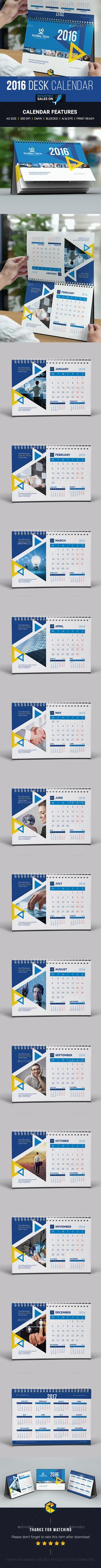 Desk Calendar 2016 Template Vector EPS, AI #design Download: http://graphicriver.net/item/desk-calendar-2016/13977218?ref=ksioks