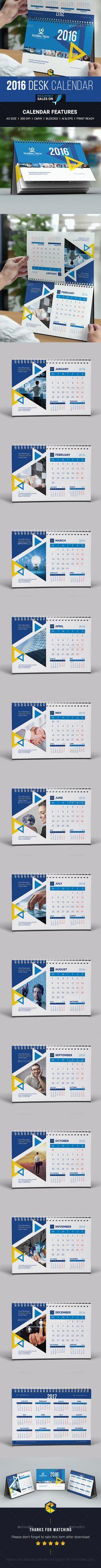 Desk Calendar 2016 Template Vector EPS, AI #design Download: http://graphicriver.net/item/desk-calendar-2016/13977218?ref=ksioks