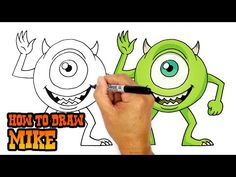 How to Draw Mike (Monsters Inc.)- Art Lesson for Kids Drawing Lessons, Drawing Techniques, Drawing Tutorials, Ninja Turtle Drawing, Cartooning 4 Kids, Art Lessons For Kids, Monsters Inc, Art Drawings Sketches, Step By Step Drawing