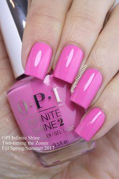 Grape Fizz Nails: OPI Infinite Shine Fiji Spring/Summer the Zones Nails Opi, Uv Gel Nails, Nail Manicure, Nails 2017, Acrylic Nails, Cute Nails, Pretty Nails, Nail Design Spring, Colorful Nail Designs