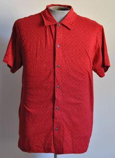 Tommy Hilfiger Mens Shirt Large Hawaiian Red Floral Short Sleeve 100% Cotton #TommyHilfiger #Hawaiian free shipping auction starting at$10.99
