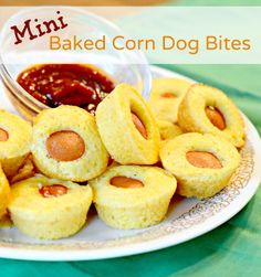 Mini Baked Corn Dogs - Bless This Mess ~~~ 1 box Jiffy Corn Bread Mix (8.5 ounce box) // 1 egg // 1/3 cup milk // 1/4 tsp garlic powder // 1/4 tsp onion powder // 1/4 tsp chili powder // 4 hot dogs, cut into 6 pieces each