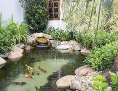 25 beautiful backyard ponds and waterfalls garden ideas Waterfall Landscaping, Pond Waterfall, Pond Design, Garden Landscape Design, Garden Oasis, Garden Pool, Ponds Backyard, Backyard Landscaping, Outdoor Fish Ponds