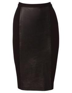 JAYSON BRUNSDON BLACK LABEL leather spliced pencil skirt