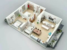 Concept Application To Home Floor Plan Design : A Nice Apartment Layout With 2 Bedroom And Nice Balcony Also Nice Livingroom 3d House Plans, Small House Floor Plans, Bedroom House Plans, Modern House Plans, Modern House Design, Condo Floor Plans, Apartment Layout, Apartment Design, Bedroom Apartment