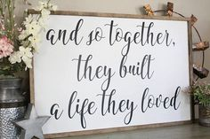 And So Together They Built A Life They Loved Wood Sign Framed Sign Bedroom Wall Art Couples Sign Farmhouse Style Sign Love Decor Apartment Decorating For Couples, Couples Apartment, Bedroom Decor For Couples, Bedroom Signs, Couple Bedroom, Diy Bedroom Decor, Bedroom Wall, Bedroom Ideas, Apartment Ideas