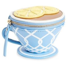 kate spade new york 'tea cup' leather coin purse ($128) ❤ liked on Polyvore featuring bags, wallets, multi, blue wallet, coin purse, zip-around wallet, genuine leather wallet and real leather wallet