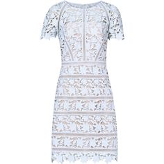 Orchid BLUE ICE LACE DRESS (1,540 PEN) ❤ liked on Polyvore featuring dresses, lace dress, blue dress, lacy dress, blue lace dress and blue cocktail dress