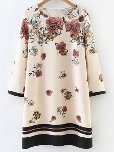 Buy Apricot Floral Print Contrast Trim Dress from abaday.com, FREE shipping Worldwide - Fashion Clothing, Latest Street Fashion At Abaday.com