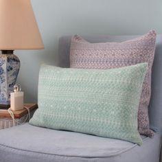 Mint/White Rectangle Knitted Fair Isle Cushion