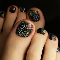 Uñas Pedicure Designs, Pedicure Nail Art, Toe Nail Designs, Toe Nail Art, Em Nails, Cute Nails, Hair And Nails, Pretty Toes, Pretty Nails