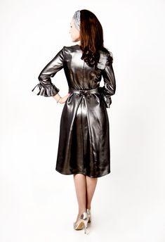 Latex, Let It Shine, Leather Dresses, Rear View, Satin Dresses, Dress Long, Shadows, Light Blue, Raincoat