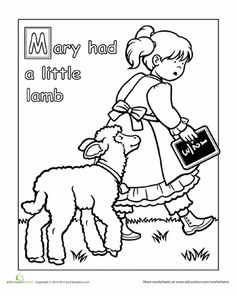 Worksheets Mary Had A Little Lamb Coloring Page Sonlight Core B Week 2