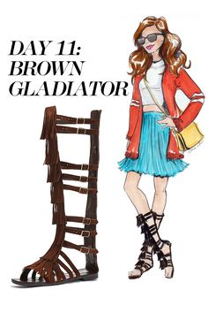 Go for casual-cute in a mismatched crop top, pleated skirt, oversized Grandfather cardigan and a pair of strappy knee-high sandals in a neutral hue. Shop the gladiator sandal trend at Nordstrom.com   - MarieClaire.com