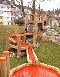 Backyard Play, Play Yard, Natural Playground, Outdoor Playground, Diy Waterfall, Playground Design, Playground Ideas, Outdoor Fun For Kids, Sand Table