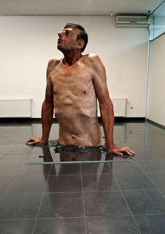"""""""Ordinary Man"""" (2010), by Zarko Baseski. Polyester resin, fiberglass, silicone and hair#this really catches my attention ~like"""