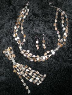 Vintage Necklace n Earring Set 50s Mother Of Pearl by BagsnBling, $14.50