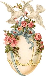 Vintage Easter egg art with doves.