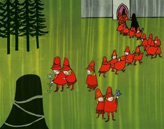 "Tomi Ungerer, ""The Three Robbers.""  ""Dressed in red caps and capes, the children moved into their new house.""    Maurice Sendak named Ungerer as a major inspiration."