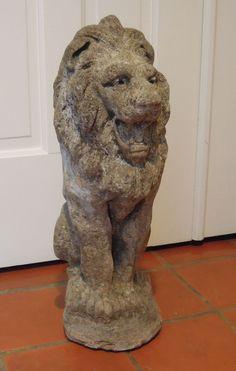 Antique English Stone Lion Ca. 1900, Garden - Statuary Found on Ruby Lane