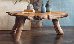 Roost Big Sur Coffee Table - These stunning pieces of furniture evokes the rugged California coast feel. The weathered shapes are carved by expert craftsmen in the most artistic fashion. The shape of the roots left behind on abandoned teak plantations determine the final form of the table, making it one of a kind unique piece.