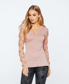 Dusky pink lazer cut out arms  , jumper