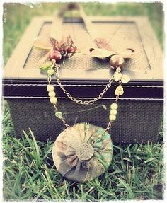 green brown necklace