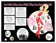 Mary Kay party idea. As a Mary Kay beauty consultant I can help you, please let me know what you would like or need. www.marykay.com/angela.tauer or call/text me at 320-455-7811