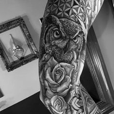 Flower Of Life With Rose Flower And Owl Mens Sleeve Tattoos