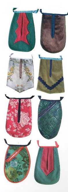 1800s Fashion, Folk Fashion, Historical Costume, Historical Clothing, Sewing Pockets, 18th Century Dress, Embroidered Bag, Folk Costume, Sewing Techniques
