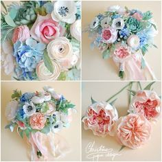Paper flowers bridal bouquet - shaby chic3
