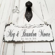 ESTABLISHED Sign | Custom Name Sign | Mr and Mrs Wedding Sign | Personalized Wooden Sign | Door Sign | Shabby Chic Sign | Rustic Chic Decor Shabby Chic Farmhouse, Farmhouse Decor, Rustic Chic, Engagement Gifts For Couples, Engagement Couple, Painted Signs, Hand Painted, French Country Decorating, Couple Gifts