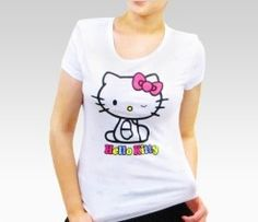 An image of Hello Kitty Adult White Burnout Tee: Wink
