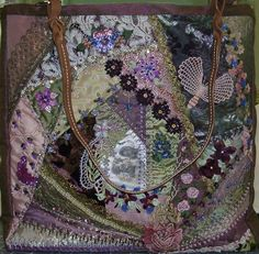I ❤ crazy quilting & ribbon embroidery . . . Beautiful crazy quilt, purple tote ~By Pat Winter