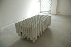 Bench / Table by Vytautas Gecas using rain-pipes. I'm particularly inspired by the randomness of the sides.